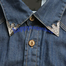 Happytogether New Vintage Pair of Triangle Flower  Pattern Punk Collar Tips C121