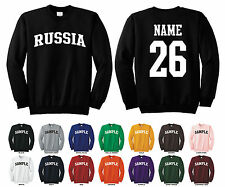 Country of Russia Adult Crewneck Sweatshirt Personalized Custom Name & Number