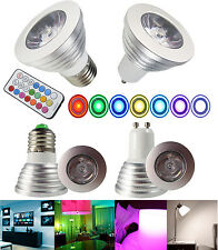 Energy saving 3W GU10/E27 RGB LED Bulb Lamp light 16 Color changing + IR Remote
