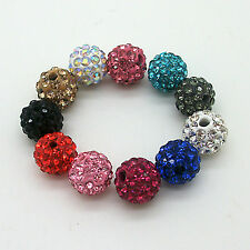 Premium 8mm Shamballa RHINESTONE Crystal Clay Pave Disco Ball Bracelet Beads