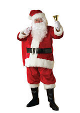 SANTA claus PREMIER deluxe plush high quality costume SUIT set ADULT w wig/beard