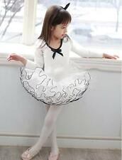 Girls Tutu Dance Ballet Skirt Dresses Leotards Long Sleeves Skating skirt 3-8T