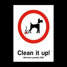 DOG FOULING - CLEAN SIGNS & STICKERS ALL SIZES! ALL MATERIALS! FREE P+P (PPA14)