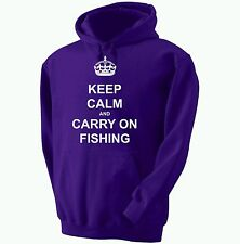 KEEP CALM AND CARRY ON FISHING HOODED SWEATSHIRT HOODIE 12 COLOURS