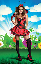 Sexy Adult Halloween Just Buggin' Ladybug Costume w Wings and Antennae