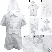 Infant Toddler Boys Christening Baptism Vest Suits Outfits White from Baby to 4T