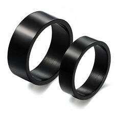 NEW Black Concise Titanium Steel Promise Ring Lovers Couple Wedding GIFT JZ139
