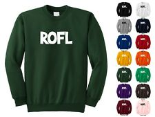 ROFL Rolling On The Floor Laughing Computer Text Lingo Funny Crewneck Sweatshirt