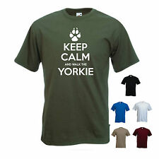 'Keep Calm and Walk the Yorkie' Yorkshire Terrier, pet dog. Mens funny T-shirt.