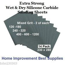 WET & DRY SILICONE CARBIDE SANDING SAND PAPER HAND SHEET PACKS -  EXTRA STRONG