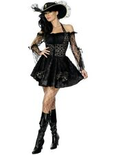 Sexy Halloween Adult Black Lace Pirate Swashbuckler Costume w Hat