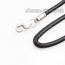 "14""~30"" 3mm 4mm Black Genuine Leather Cord Stainless Steel Men Necklace SN#897"
