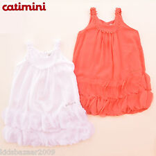 Catimini Girls White/Red Crepe Pom Pom Dress with Petal Size 2/4/5/6/8/10/12