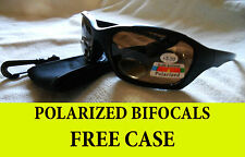 BIFOCAL SUNGLASSES POLARIZED- FISHING, DRIVING, GOLF,  AMBER LENS **FREE  CASE**