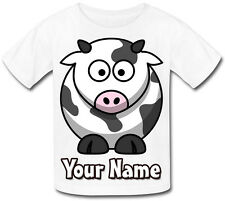 CUTE COW PERSONALISED SUBLIMATION KIDS T-SHIRT - GIFT FOR ANY CHILD & NAMED TOO