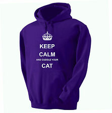 KEEP CALM AND CUDDLE YOUR CAT  HOODY HOODED SWEATSHIRT ADULT AND KID'S SIZES