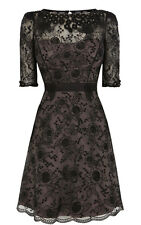 Black Beige Nude Studded Embroidery Lace Baroque Cocktail Dress UK 8 10 12 14 16