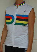 Jivana Cycling Bike Sleeveless Jersey mens womens White Rainbow XS S M L XL XXL