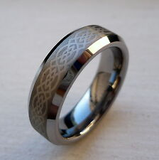 6mm TUNGSTEN CARBIDE CELTIC KNOT  MEN'S COMFORT FIT WEDDING BAND RING SZ 5-15