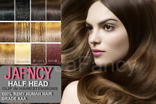 "18"" Clip In Remy Human Hair Extensions Half Head 6 Piece - All Colours"
