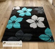 Black Teal Blue and Grey Flowers Pattern Rug - Very Modern Design - In 2 Sizes