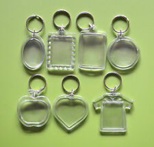 2X Transparent Plastic Photo Picture Frame Key Chain