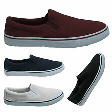 Boy Mens Canvas Slip On Deck Boat Loafers Yachting Plimsoles Shoes Sizes UK 7-12