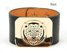 Women Genuine Real Leather Wide Bangle Cuff Leopard Wristband Snap Lady Bracelet
