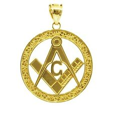 Solid Gold Freemason Masonic Square and Compass Round Pendant