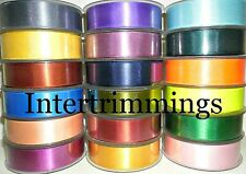 DOUBLE SIDED SATIN RIBBON, 25MM, 5 METRES, ASSORTED COLOURS, FREE P&P