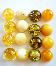 Baltic amber cabochons  8mm green, butterscotch, creamy white, clear lemon