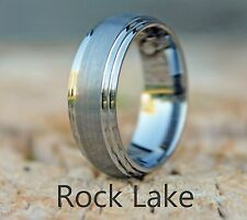Mens Tungsten Carbide Stepped-Edge Ring / Wedding Band Dome (sizes 7.5 - 13)