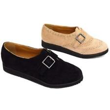 WOMENS BLACK OR NUDE FLAT BROGUE BROTHEL CREEPER BUCKLE SHOES PUMPS SIZES 3-8