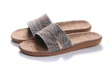 LOHAS Jute Hemp Flax Natural Sandals Slippers Flip Flops Slides - men(gray)