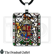 England Coat Arms Stained Glass Unicorn English Mon Droit Charm Pendant Necklace