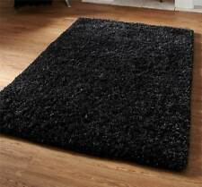 Black Hand Tufted Wool & Viscose Super Heavy Weight Luxury Shaggy Rug