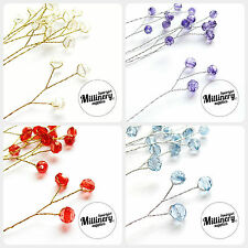 6 Round Acrylic Bead Wired Picks for Millinery, Wedding Flower Bouquets