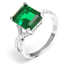 4ct Luxury Nano Russian Emerald Ring Solid 925 Sterling Silver