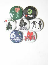 Zombies Warning Meat Eaters 7 Pin Set  New Pinbacks Badges Horror Pins