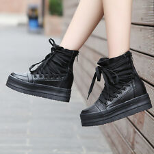 Hot! Womens/Girls High Top Sneakers Lace Up Trainers Shoes Platform Ankle Boots