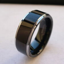 8mm TUNGSTEN CARBIDE FLAT BLACK IN THE MIDDLE MEN'S  WEDDING BAND RING SZ 5-15