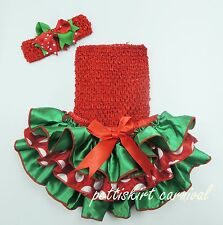 Xmas Newborn Baby Green Red Polk Dots Ruffles Bloomers Top Bow Headband 3pc 0-24