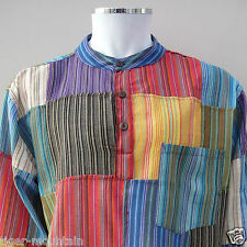 BN Hippy Cotton Grandad Shirt in Patchwork Multi Colour Stripes - FREE 1ST P&P!