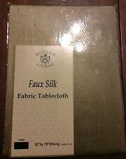 SULTANS LINENS FAUX SILK FABRIC TABLECLOTH OBLONG MILK CHOCOLATE COLOR  NIP