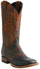 Lucchese M1800 Mens Black Full Quill Ostrich Saddle Vamp Western Cowboy Boots
