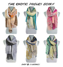 EXOTIC PAISLEY SCARF lightweight wrap shawl colorful spring summer designer hip