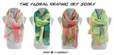 FLORAL GRAPHIC ART SCARF lightweight colorful spring summer designer trendy hip