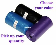 Dog Pet Waste Poop Bags Unscented Refill Rolls BLACK, PURPLE 15 bags/roll