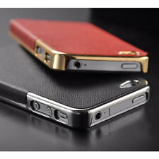 Fashion Chrome Deluxe Leather Luxury Hard Case Back Cover Skin For iPhone 4 4S
