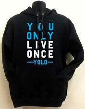 "For mens Thick heavy weight Pull over Black Hoodie Printed ""YOLO"" All Size S~5XL"